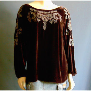 Sundance Brown Velvet Teal Embroidery Top L